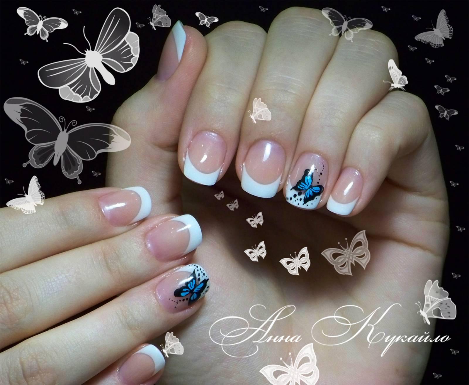 Ногти наращивание с бабочками